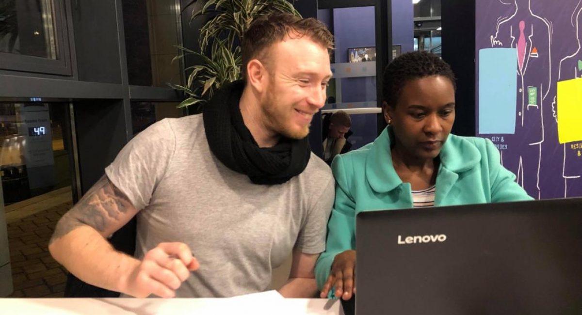 Meeting Mojatu Foundation (Left: Lee Neary. Right: Valentine Nkoyo)